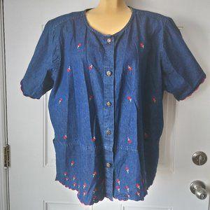 JANE ASHLEY Embroidered Denim Button Down Shirt 2X